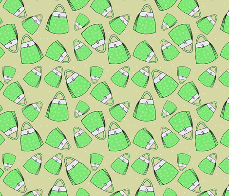Purses - green on taupe fabric by designergal on Spoonflower - custom fabric