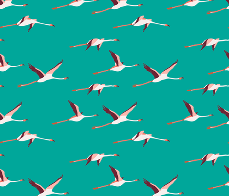 tropica_flamingo_turquoise fabric by holli_zollinger on Spoonflower - custom fabric