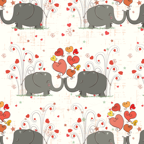 Elephant Love 3 fabric by forthelove on Spoonflower - custom fabric