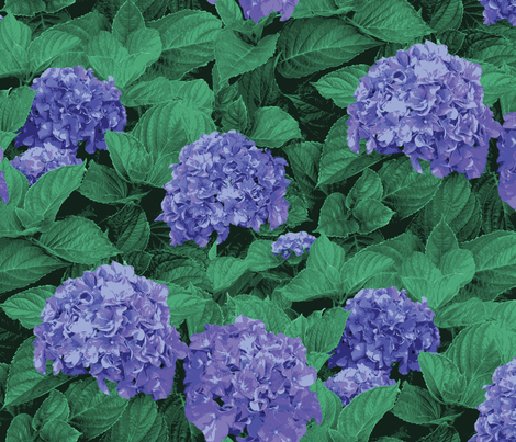 blue_hydrangea 25.5 x 18 fabric by angelfraser on Spoonflower - custom fabric