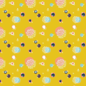 quirky dots and  flowers mustard