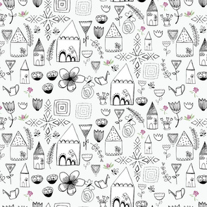 floral home black and white