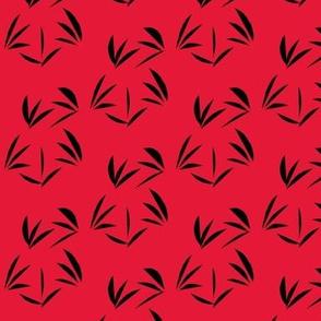 Black Oriental Tussocks on Tomato Red
