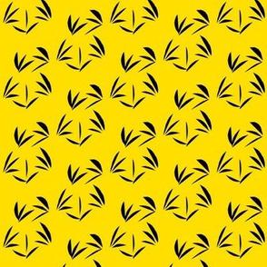 Black Oriental Tussocks on Daffodil Yellow