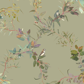 Eucalyptus Foliage Lattice with Birds n Bugs on natural L