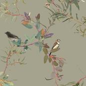 Eucalyptus Foliage Lattice with Birds n Bugs on natural L