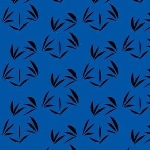 Black Oriental Tussocks on Sapphire Blue