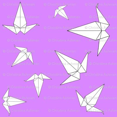 Origami Peace Cranes, Lilac