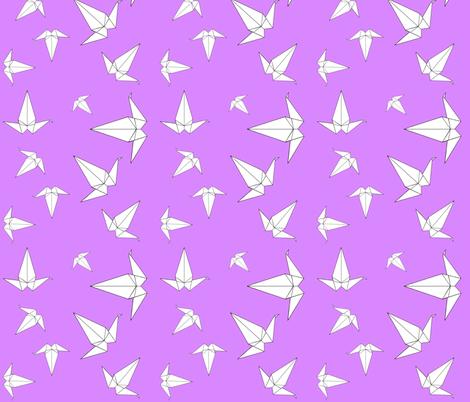 Origami Peace Cranes, Lilac fabric by interrobangart on Spoonflower - custom fabric
