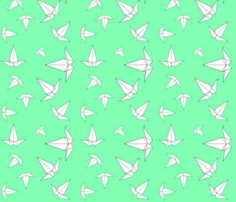 Origami Peace Cranes, Mint fabric by interrobangart on Spoonflower - custom fabric