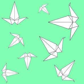 Origami Peace Cranes, Mint