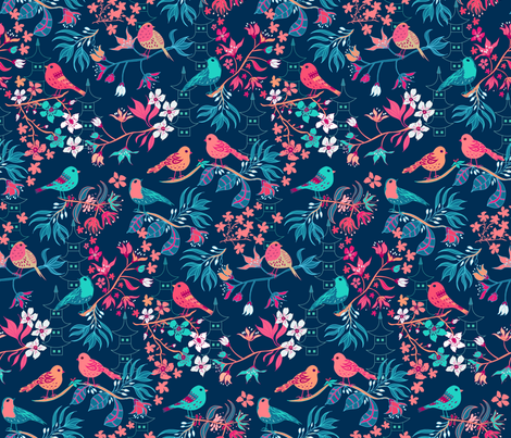 Birds and Blossom Dark Blue fabric by jill_o_connor on Spoonflower - custom fabric