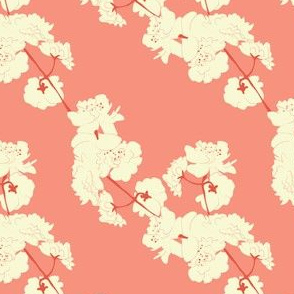 Blossom Garlands in Coral // Modern Japanese floral pattern by Zoe Charlotte
