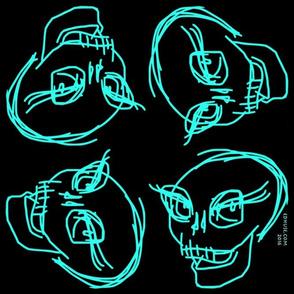 smiling Skull Teal on Black 1