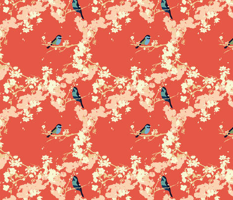 Birds and Blossoms in Vermillion // Modern Japanese floral pattern by Zoe Charlotte fabric by zoecharlotte on Spoonflower - custom fabric