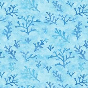 Seaweed Branches Blue on Blue Watercolor