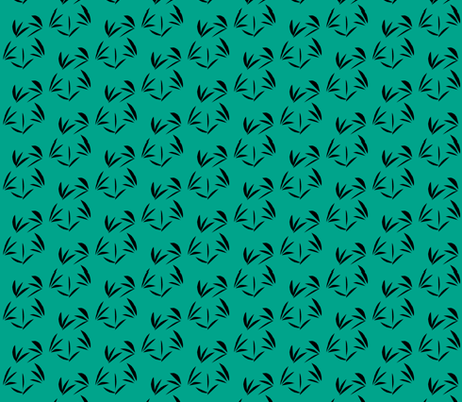 Black Oriental Tussocks on Jade fabric by rhondadesigns on Spoonflower - custom fabric