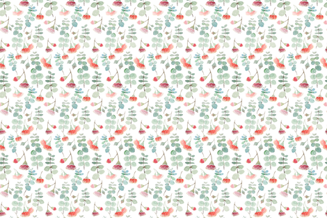 Watercolour eucalyptus silver fabric by hollydickson on Spoonflower - custom fabric