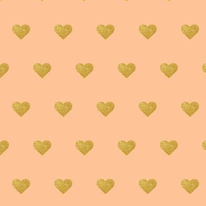 Gold Hearts on Peach