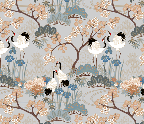 gueth_japanese_garden_gray fabric by juditgueth on Spoonflower - custom fabric