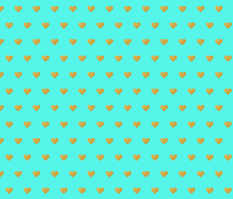 Gold Hearts on Teal fabric by shandubdesigns on Spoonflower - custom fabric