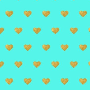 Gold Hearts on Teal