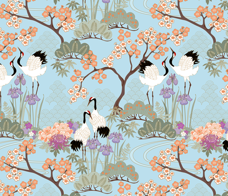 gueth_japanese_garden_blue fabric by juditgueth on Spoonflower - custom fabric