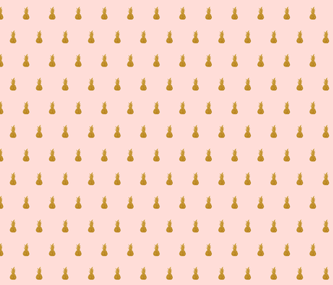 Gold Sparkly Pineapples On Pale Pink Fabric