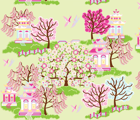 Japanese garden fabric by squeakyangel on Spoonflower - custom fabric