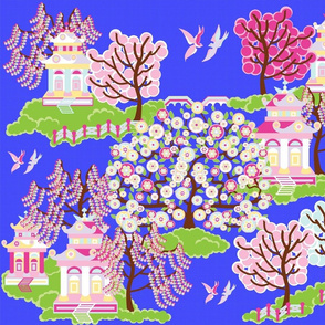 Japanese garden blue