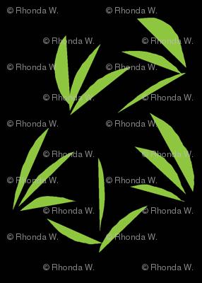 Wasabi Green Oriental Tussocks on Black - Medium Scale