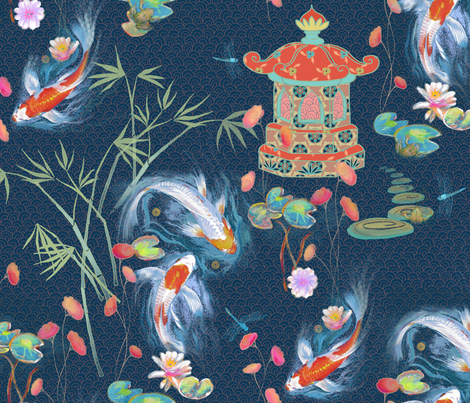 japanese water garden- navy fabric by designed_by_debby on Spoonflower - custom fabric