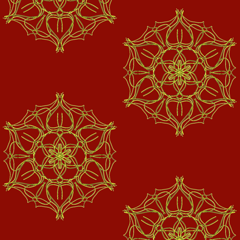 Golden Hearts Flowering on Regal Red - Large Scale fabric by rhondadesigns on Spoonflower - custom fabric