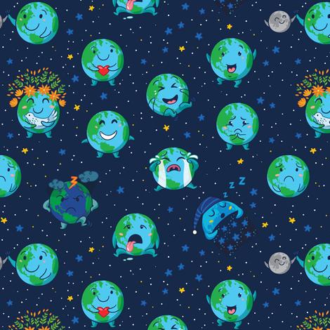 Earth globes fabric by penguinhouse on Spoonflower - custom fabric