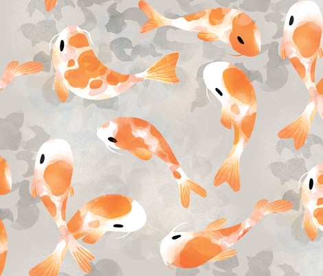 Japanese Koi Fish fabric by tarynosaurus on Spoonflower - custom fabric
