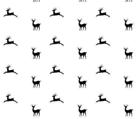 Deer 7 - Black white fabric by drapestudio on Spoonflower - custom fabric