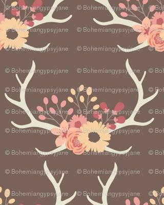 Floral Antlers-Brown