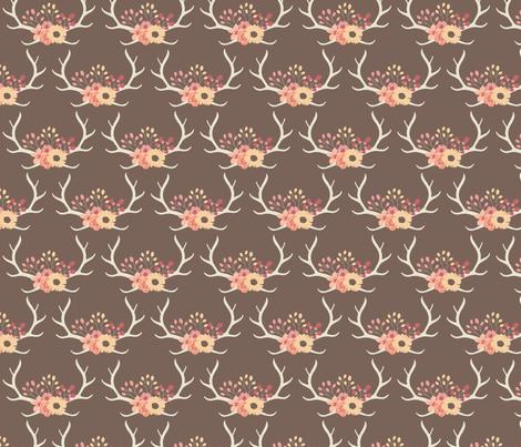 Floral Antlers-Brown fabric by bohemiangypsyjane on Spoonflower - custom fabric