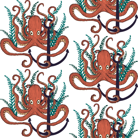 Too Many Hands - Octopus  Fabric - Coral fabric by shopcabin on Spoonflower - custom fabric