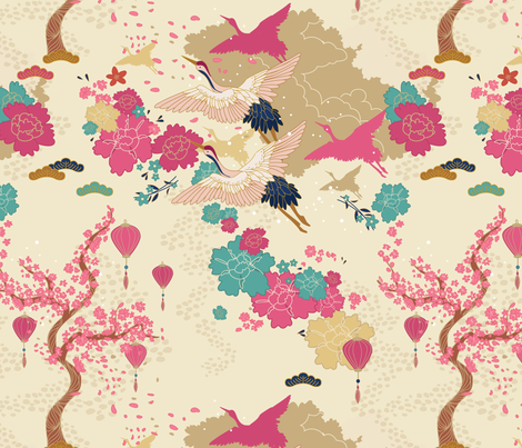 Japanese Crane Blossom fabric by ewa_brzozowska on Spoonflower - custom fabric