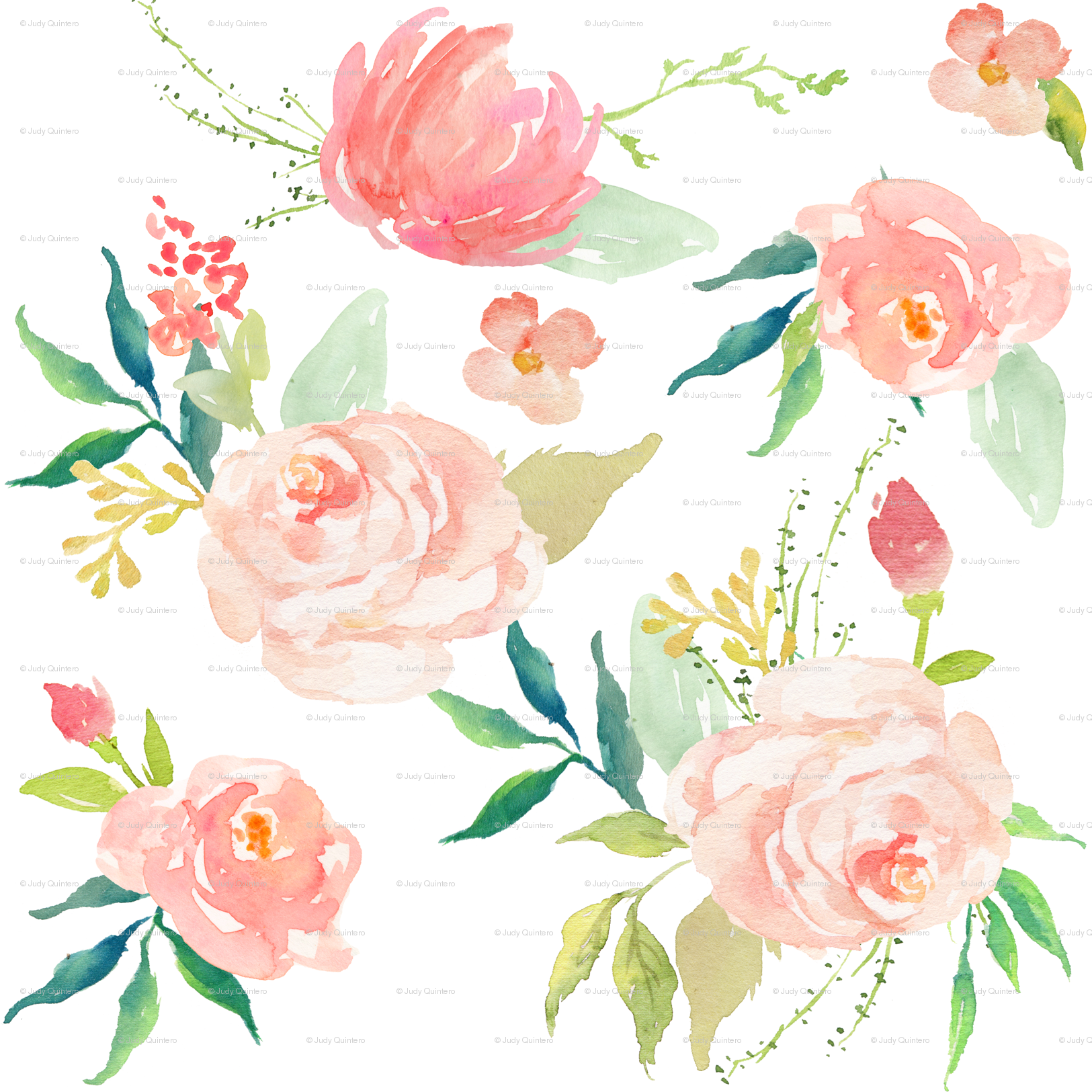 Pink Ice Florals Fabric Shopcabin Spoonflower