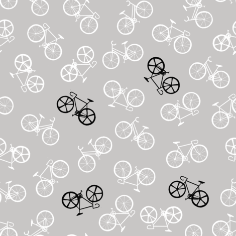 bicycle_grey_white fabric by lpt-workshop on Spoonflower - custom fabric