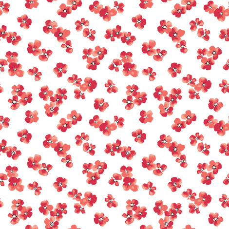Red ditsy flower fabric by lpt-workshop on Spoonflower - custom fabric