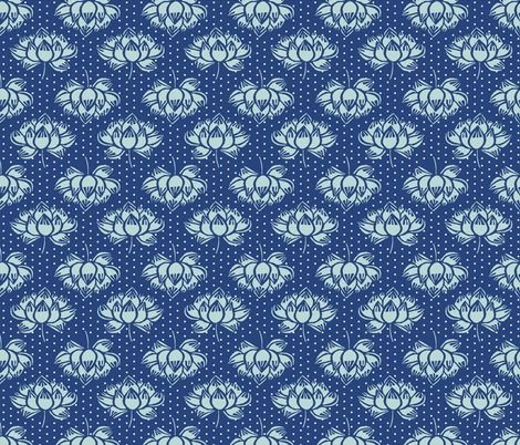 lotus // blue and mint lotus flower garden woodcut blockprint yoga fabric by andrea_lauren on Spoonflower - custom fabric