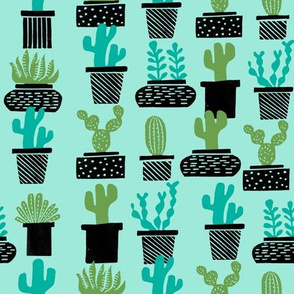 cactus // potted plants houseplants plants block print stamps kids