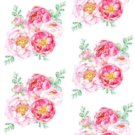 Peonies in Bloom fabric by shopcabin on Spoonflower - custom fabric