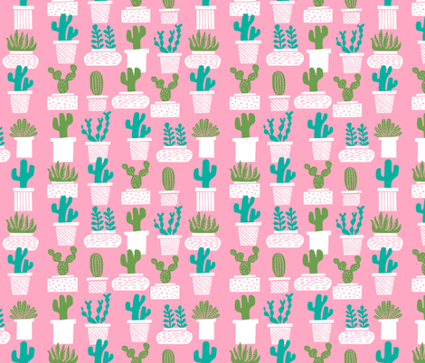 cactus // plant pots pink girls plants succulents terrariums  fabric by andrea_lauren on Spoonflower - custom fabric