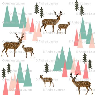 deer mountains // crib sheet baby cute pink and mint girls baby geo deer