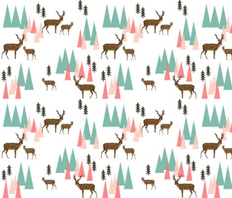 deer mountains // crib sheet baby cute pink and mint girls baby geo deer fabric by andrea_lauren on Spoonflower - custom fabric