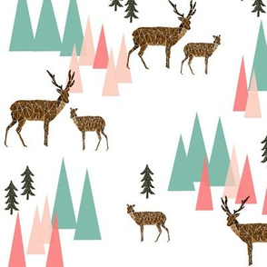 deer mountains // crib sheet baby cute pink and mint girls baby geo deer